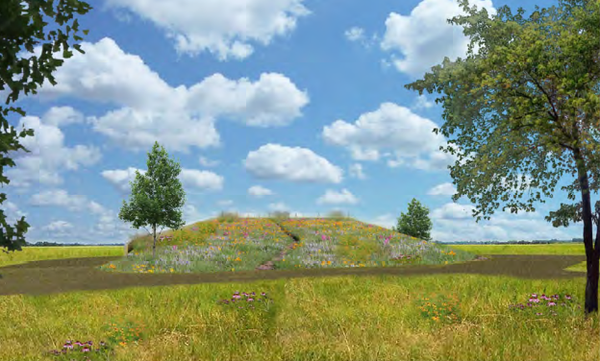 A view from the northeast of the proposed pump station near 31st and Louisiana streets. Rendering courtesy of City of Lawrence and PEC