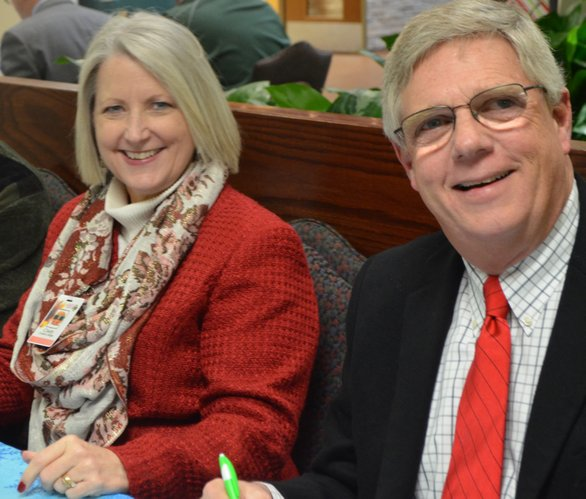 Serving as an Lawrence Memorial Hospital Trustee is not all business, as Cindy Yulich and Allen Belot can attest. In addition to volunteering an average of 20 hours a month in meetings, sometimes trustees get to have a little fun, like judging the LMH Holiday Cookie Contest.