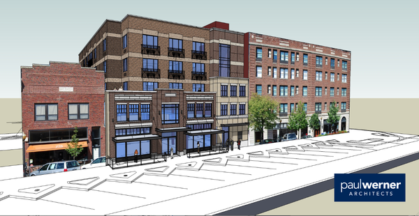 Rendering for the proposed expansion of The Eldridge Hotel. Courtesy: City of Lawrence/Paul Werner Architects