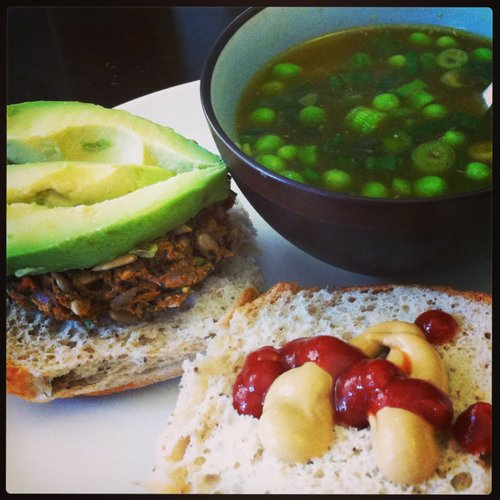 Spring Soup with homemade veggie burgers.