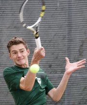 Free State tennis player Ian Pultz-Earle competes in a #1 singles match in the Sunflower League Regional tournament Thursday at theIndian Creek Recreation Center in Overland Park.