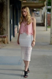 Elizabeth's outfit: Cropped top, skirt and jewelry from Fortuity; shoes from TJ Maxx.