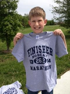 Jackson brings home a finisher's t-shirt!