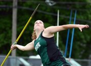 Free State's Scout Wiebe sets to launch the javelin Friday at the Sunflower League track and field championships at Shawnee Mission North.