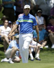 Gary Woodland reacts after missing a birdie putt on No. 2 during the final round of the Byron Nelson Championship on Sunday in Irving, Texas. Woodland, a Kansas University product, placed seventh at the event.