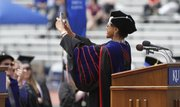 Kansas University chancellor Bernadette Gray-Little, takes self-portrait of herself during her speech to graduates at the 142nd Commencement at KU Sunday, May, 18, 2014.