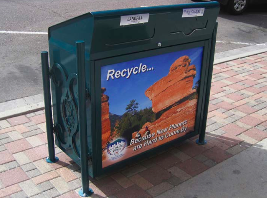 An example of the proposed dual trash/recycling containers for downtown Lawrence. Courtesy: city of Lawrence.