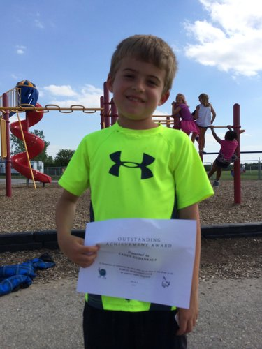 Caden finished with the most miles for males in 2nd Grade