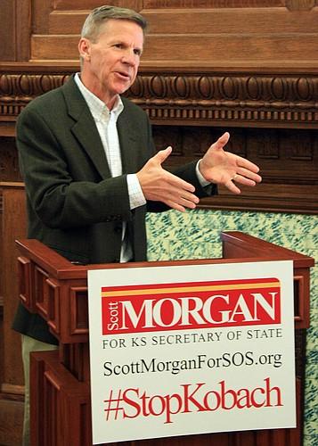 Lawrence Republican Scott Morgan is challenging GOP incumbent Secretary of State Kris Kobach.