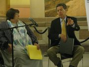 Kansas Department for Families and Children Secretary Phyllis Gilmore and Gov. Sam Brownback speak Tuesday during a news conference announcing a new mental health initiative.