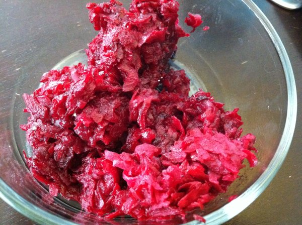 They sort of look like ground hamburger in this pic, but these Quick Grated Beets are delicious.