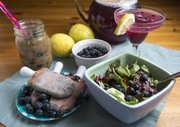 Blueberry-Mango Pops and Smoothie, at left, and Jamberry Summer Brew and Blueberry Summer Dinner Salad with Blueberry Basil Balsamic Vinaigrette
