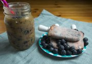Sarah Henning's Blueberry-Mango Pops and Smoothie