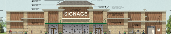 Rendering of a proposed grocery store at the Bauer Farm Development near Sixth and Wakarusa. Courtesy: City of Lawrence