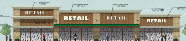 A rendering of a proposed multi-tenant retail building in the Bauer Farm development near Sixth and Wakarusa. Courtesy: City of Lawrence.