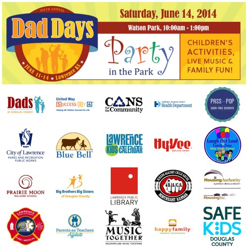 Dad Days Party in the Park is a free community children's festival held on the day before Father's Day in Watson Park at 6th and Tennessee in Lawrence, Kansas.