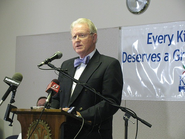 KNEA general counsel David Schauner speaks Monday during a news conference announcing the group plans to sue over House Bill 2506.