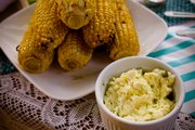 Corn on the cob and garlic lime butter
