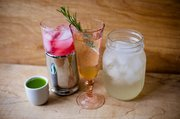 From left, spicy pickle shooter, raspberry Sharab el Toot, homemade ginger ale and orange blossom lemonade