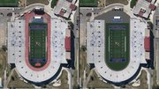 "Kansas University's plan to remove the track at Memorial Stadium, left, is shown in the rendering at right. The track will be replaced by turf that will extend 37 feet from the sideline, leaving just 10 feet of black ""drainage asphalt"" between the turf and the stands. In addition, a decorative fence will replace the chain-link fence on the south end of the stadium."