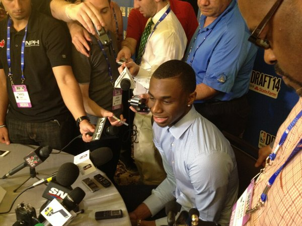 One-and-done Kansas University basketball player Andrew Wiggins meets with members of the media Wednesday in New York, the day before the 2014 NBA Draft.
