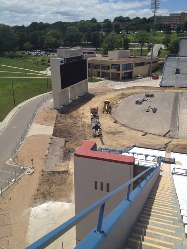 Here's a look from the top of the east stands down at the scoreboard area behind the south end zone.