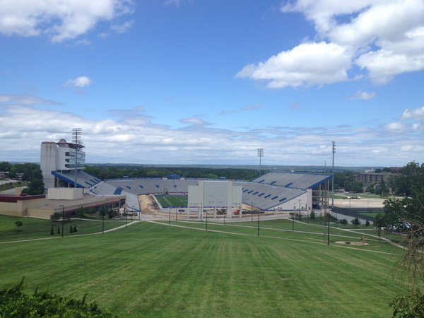 Here's the new view of Memorial Stadium, sans track, from Campanile hill.