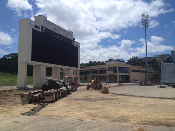 Here's a look at the area around the scoreboard, behind the south end zone.