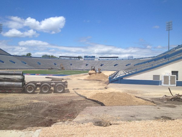 Here's a view from inside the stadium, looking toward the north end of the field from the south end zone.