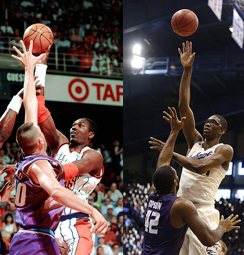 In photo at left, the Houston Rockets' Hakeem Olajuwon shoots over Utah's Greg Ostertag (00) on May 29, 1997, in Houston. In right photo, Kansas big man Joel Embiid puts up a similar shot over Kansas State's Thomas Gipson on Jan. 1 at Allen Fieldhouse.