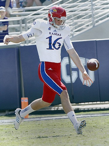 Kansas University's Trevor Pardula, a 6-foot-5, 209-pound punter from San Jose, California kicks at TCU on Saturday October 12, 2013.