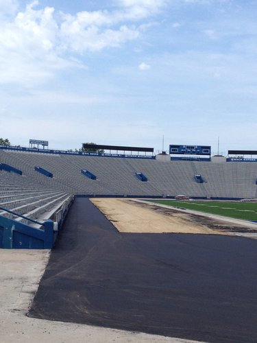 Here's a look at the west sideline, where you can clearly see the area that will soon receive the new turf.
