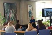 Submitted Anna Gregory, a KU alum, speaks to Honors Program students about Teach for America.