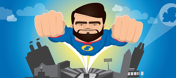 "Kansas linebacker Ben Heeney is depicted as ""The Diabolical Defender"" in this superhero-style illustration from a KU football promotional website unveiled Friday, July 18, 2014."