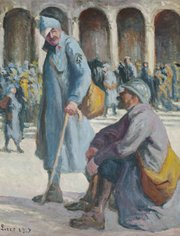 This 1917 untitled painting by Maximilien Luce of wounded soldiers arriving in Paris is part of a World War I exhibit at the Spencer Museum of Art.