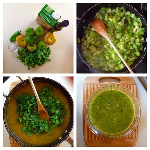 Salsa verde, in process.