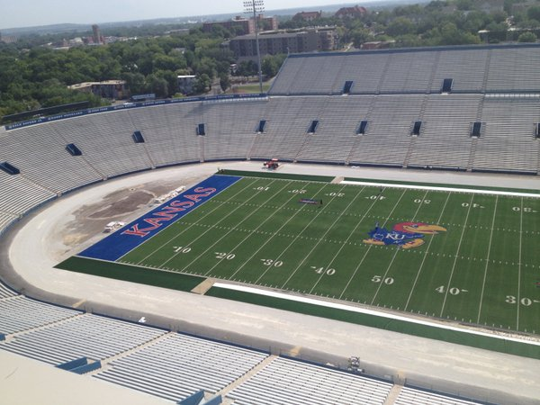 A shot from the top of the west side of Memorial Stadium during the early stages of the turf installation project.