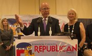 U.S. Sen. Pat Roberts and his wife, Franki, celebrate his Republican primary win on Tuesday in Overland Park.