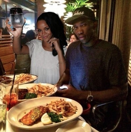 Joel Embiid's Twitter presence has gained him thousands of fans. Above is the Philadelphia center's profile picture, a photoshopped image of him on a supposed dinner date with pop star Rihanna.