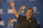 Kansas football coach Charlie Weis talks about the Jayhawks during his preseason-opening news conference on Thursday, Aug. 7, 2014.