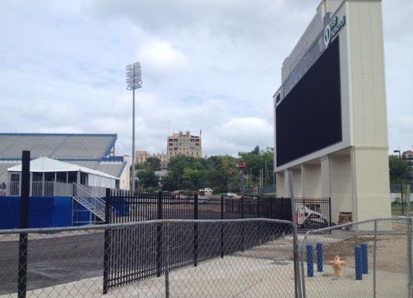 Work has begun on the installation of the black, decorative fence that will enclose the south end of Memorial Stadium this fall.