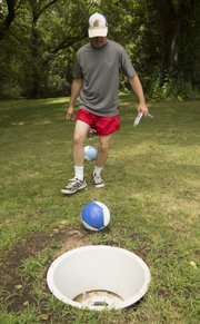 Chad Lawhorn makes an easy shot while playing FootGolf at the Orchards Golf Course.