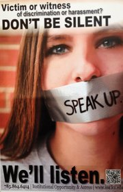 "A poster for the KU office of Institutional Opportunity and Access ""Speak Up"" campaign."
