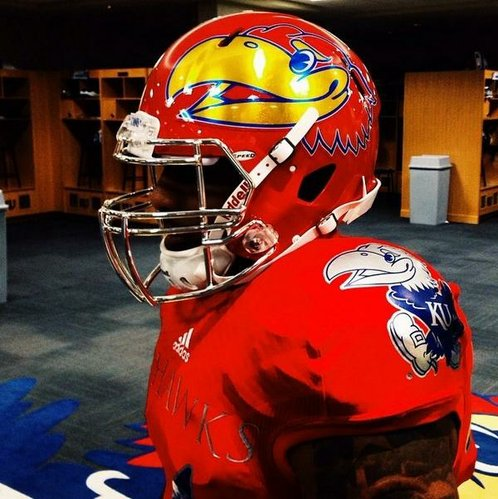 "A closer look at KU football's new ""Crimson Chrome"" uniform courtesy of freshman wideout Darious Crawley's Twitter account @DariousCrawley2"