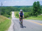Lawrence cyclist Cal Melick, pictured here on a ride outside Weston, Mo., was killed by a car while biking Wednesday, Aug. 13, 2014, in rural Lawrence. Melick was a fixture on the roads for more than 40 years, fellow cyclists said.