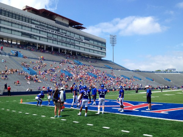 A look at the Memorial Stadium stands on a gorgeous day during the KU Football Fan Appreciation Day.