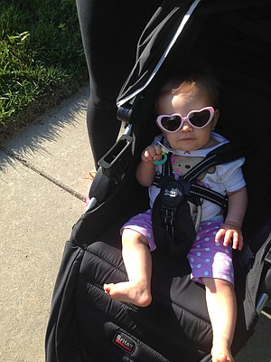 A rare moment when Lily kept her sunglasses on.