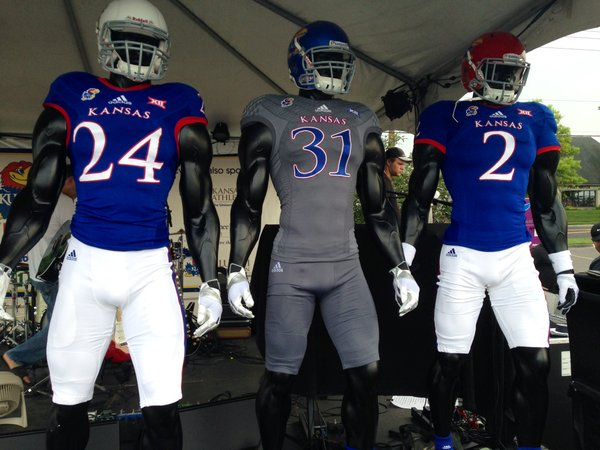 "Fans can vote for which uniform they want Kansas University football to wear for its Sept. 6 home opener by texting their choice to 37664, with the keyword corresponding with a helmet: ""KUWhite,"" ""KUBlue"" or ""KUCrimson."""