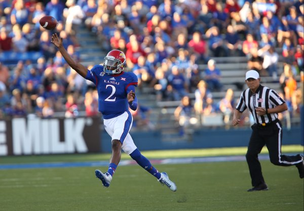 Kansas quarterback Montell Cozart throws against Southeast Missouri State during the first quarter on Saturday, Sept. 6, 2014 at Memorial Stadium.