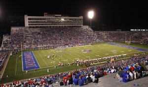 Kansas fans watch the Jayhawk football team on Saturday, Sept. 6, 2014 at Memorial Stadium.